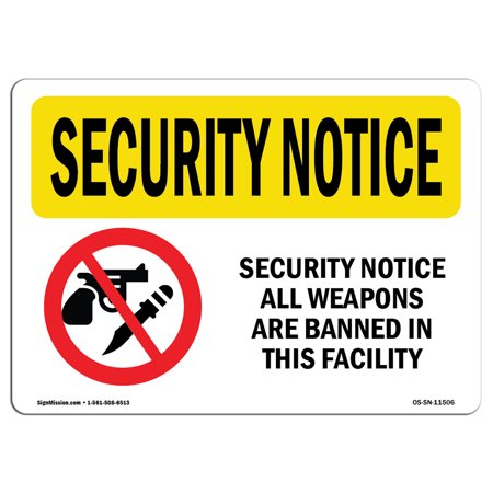 OSHA SECURITY NOTICE Sign - All Weapons Are Banned Bilingual  | Choose from: Aluminum, Rigid Plastic or Vinyl Label Decal | Protect Your Business, Work Site, Warehouse & Shop Area | Made in the USA - Ban Halloween Sign