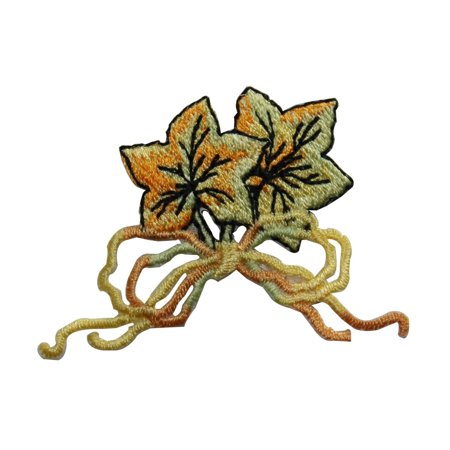 - ID 7138 Pair of Maple Leaves Bow Patch Tree Fall Embroidered Iron On Applique