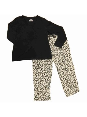 Product Image Womens Black Knit Top Cheetah Pajamas Leopard Animal Print  Fleece Sleep Set 15bdf106b