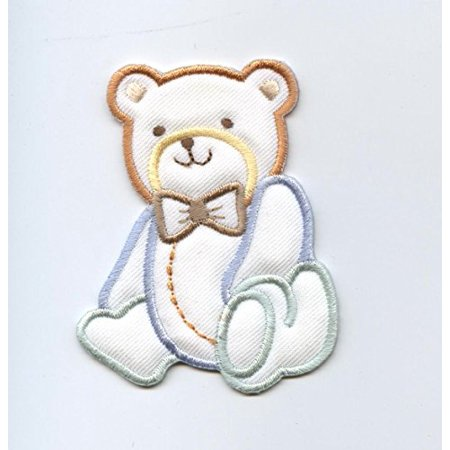 Children's Boy Bear - Puffy - Pastel - Iron On Embroidered Applique Patch ()