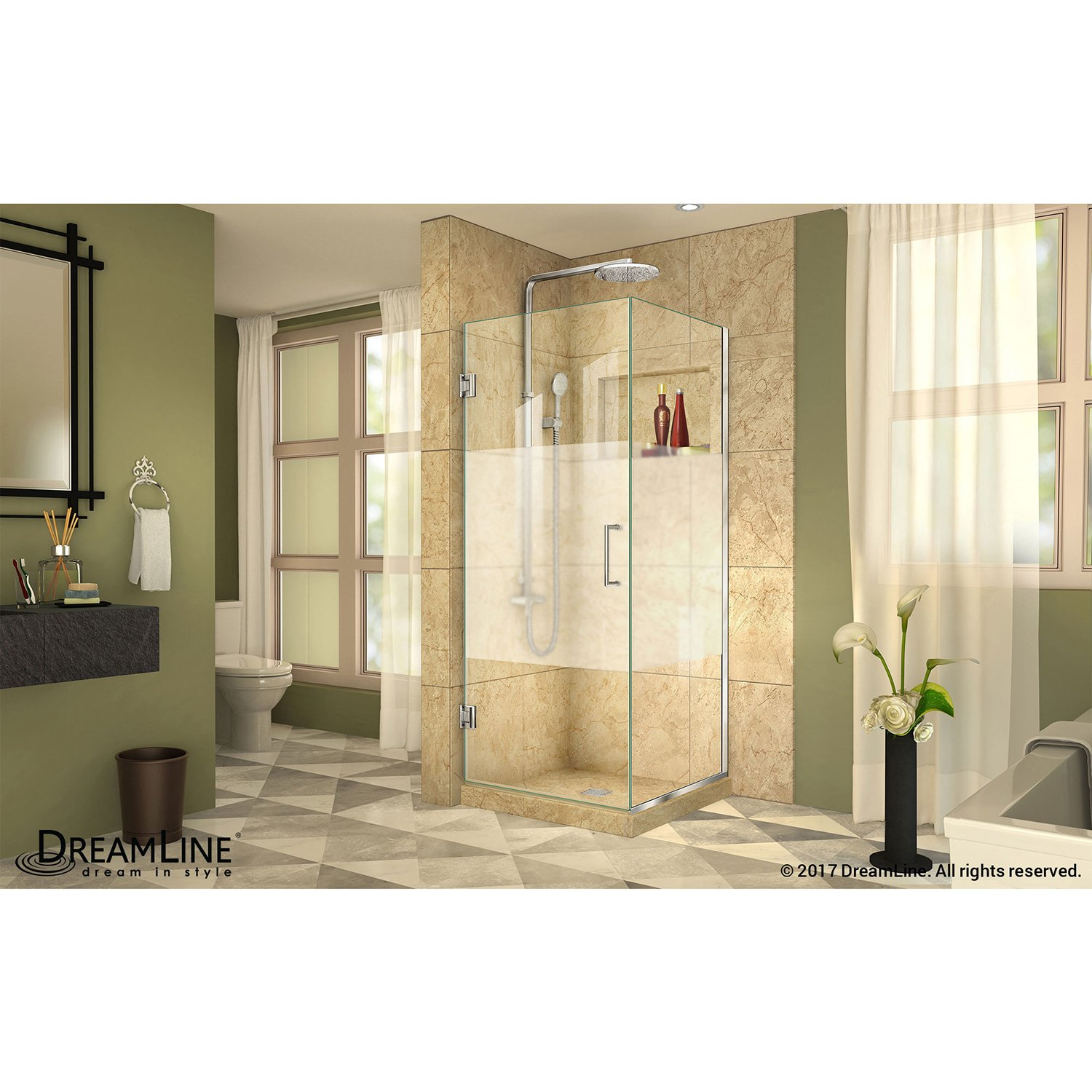 Dreamline Shen 24340340 Hfr 04 Brushed Nickel Hinged Shower Enclosure With Half Frosted Glass Door