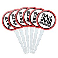 50th Fiftieth Birthday Red Black Polka Dots Cupcake Picks Toppers - Set of 6