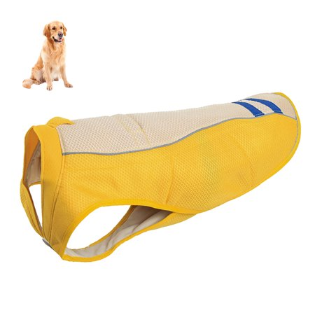 Dog Cooling Vest Harness Cooler Jacket Breathable Pet Cooling Coat Sun-proof Dog Jacket, Suitable for Medium and Large Dogs, Yellow, (Yellow Dog Safety Vest)