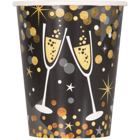 9oz Paper Glittering New Years Eve Cups, 8ct - New Years Eve Theme
