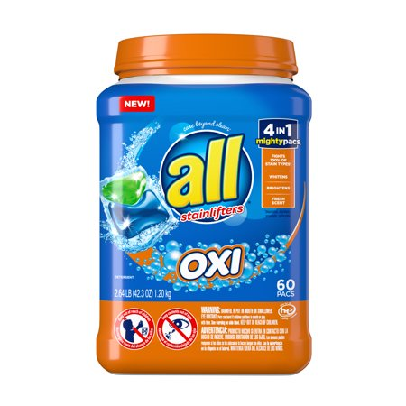 all Mighty Pacs Laundry Detergent, 4in1 with OXI , Tub, 60 Count