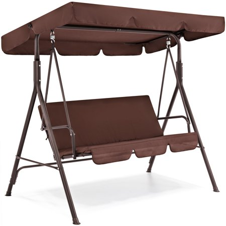 Best Choice Products 2-Person Outdoor Large Convertible Canopy Swing Glider Lounge Chair w/ Removable Cushions- Brown