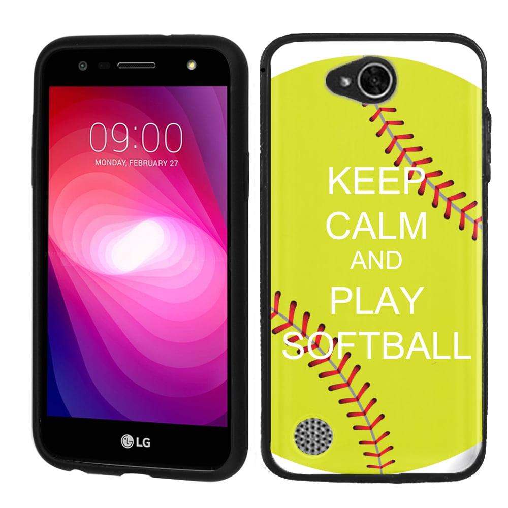 Slim Case for LG X Power 2 / LG Fiesta 4G LTE, OneToughShield ® Premium TPU (Black Bezel) Gel Phone Case - (Keep Calm Softball)