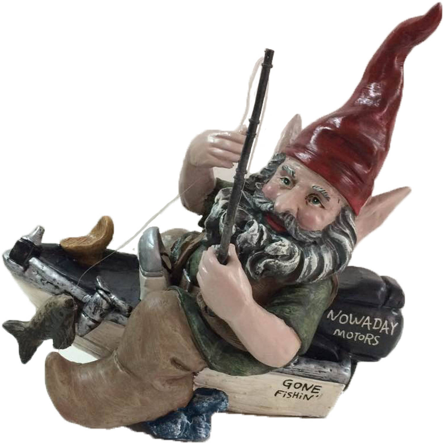 """Nowaday Gnomes """"Fisherman the Gnome"""" Garden Gnome Fisherman in His Bass-Boat... by GSIHomeStyles"""