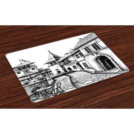 Cityscape Placemats Set of 4 Old Peaceful City Drawing Restaurant Terrace Sketch Downtown Lifestyle Scene, Washable Fabric Place Mats for Dining Room Kitchen Table Decor,Black White, by Ambesonne