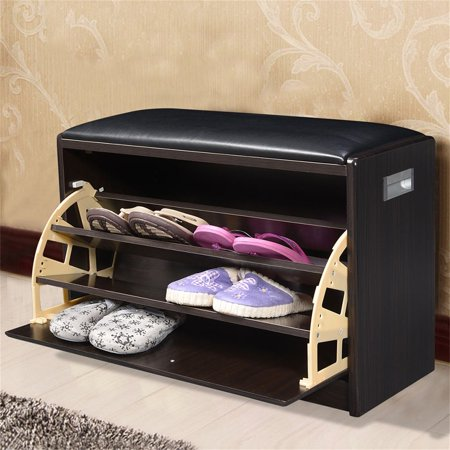 Wooden Shoe Cabinet Closet Storage Rack Deep Brown PU Seat Bench Organizer