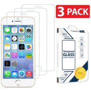 [3-PACK] TTECH For Apple iPhone 8 / 7 / 6 Plus Tempered Glass Screen Protector Film Cover, Anti-Scratch, Anti-Fingerprint, Bubble Free, 100% Clear, HD, In Retail Package [fits iPhone 6, 6S, 7, 8 Plus]