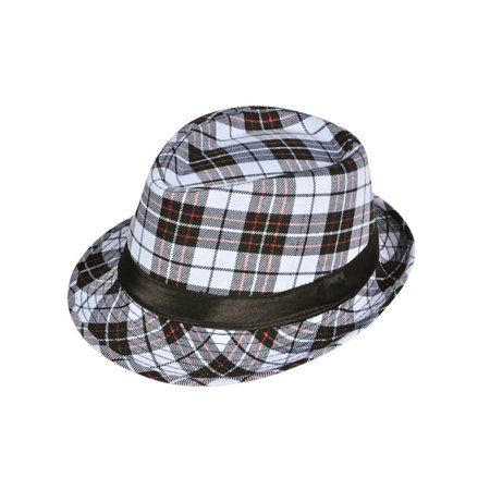 Ganster Hats (Deluxe White Black Red Plaid Pattern Classic Gangster Costume Fashion Fedora)