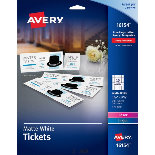 "Avery Printable Tickets with Tear-Away Stubs - 1.75"" Width x 5.50"" Length - 20 / Sheet - Laser, Inkjet - White - 200 / Pack"