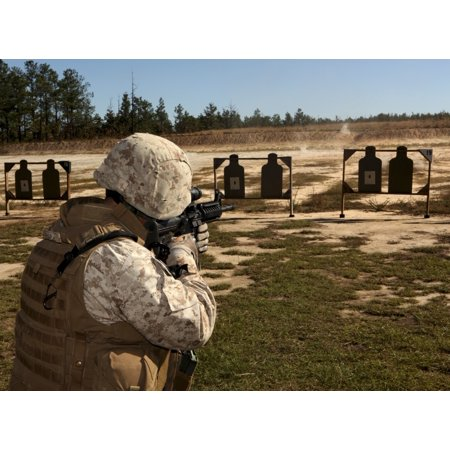 October 22 2010 - A military policeman participates in the rifle qualification Table III as part of the Combat Marksmanship Program at Fort Bragg North Carolina Poster Print (Parts Rifle)
