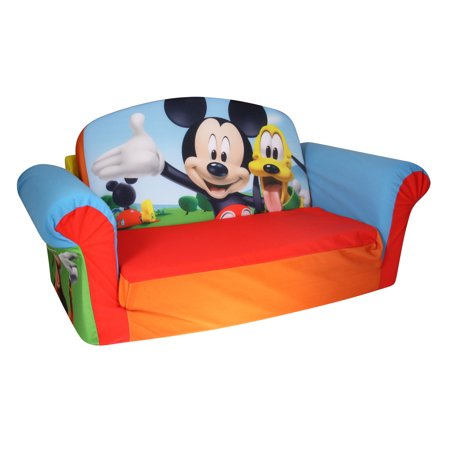 Marshmallow Furniture  Childrens 2 In 1 Flip Open Foam Sofa  Disney Mickey Mouse Club House  By Spin Master