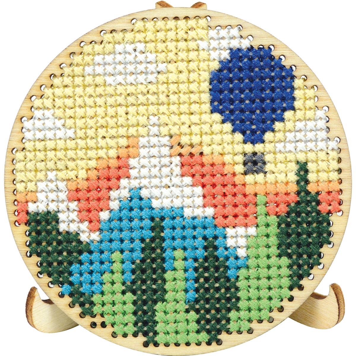 "Round Wood Display W/Easel Punched For Cross Stitch-3"" Round"
