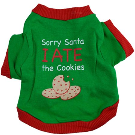 Mosunx Christmas Puppy Dog Clothes Christmas Cookies Interlock Green Seal Pet Shirt - Pet Christmas Clothes