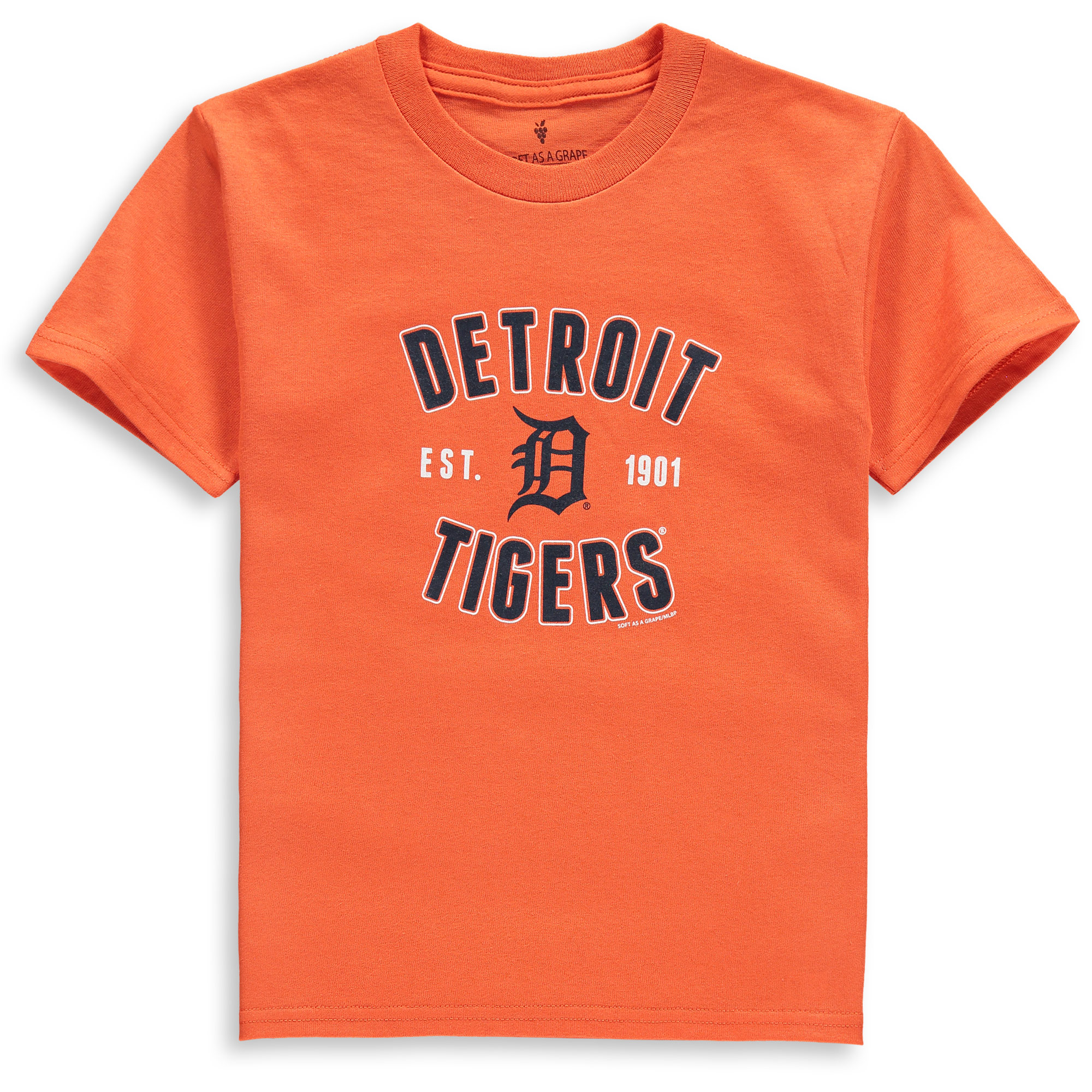 Detroit Tigers Soft as a Grape Youth Cotton Crew Neck T-Shirt - Orange