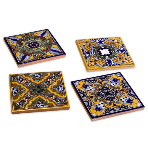 Native Trails TVCM21 Spanish Garden Hand Painted Tile Coasters (Set of 4)