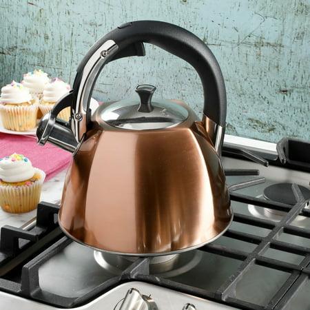 Mr Belgrove 2.5-Quart Metallic Copper Tea Kettle (Porcelain Tea Kettle Blue)