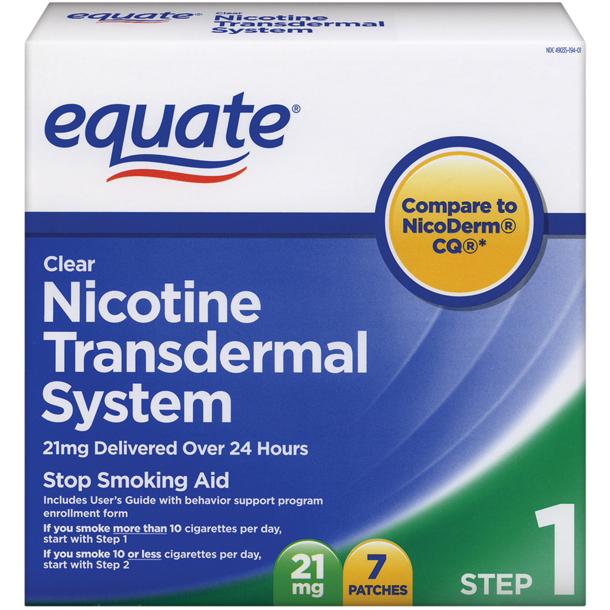 Equate Step One Clear Transdermal System Nicotine Patches, 21mg