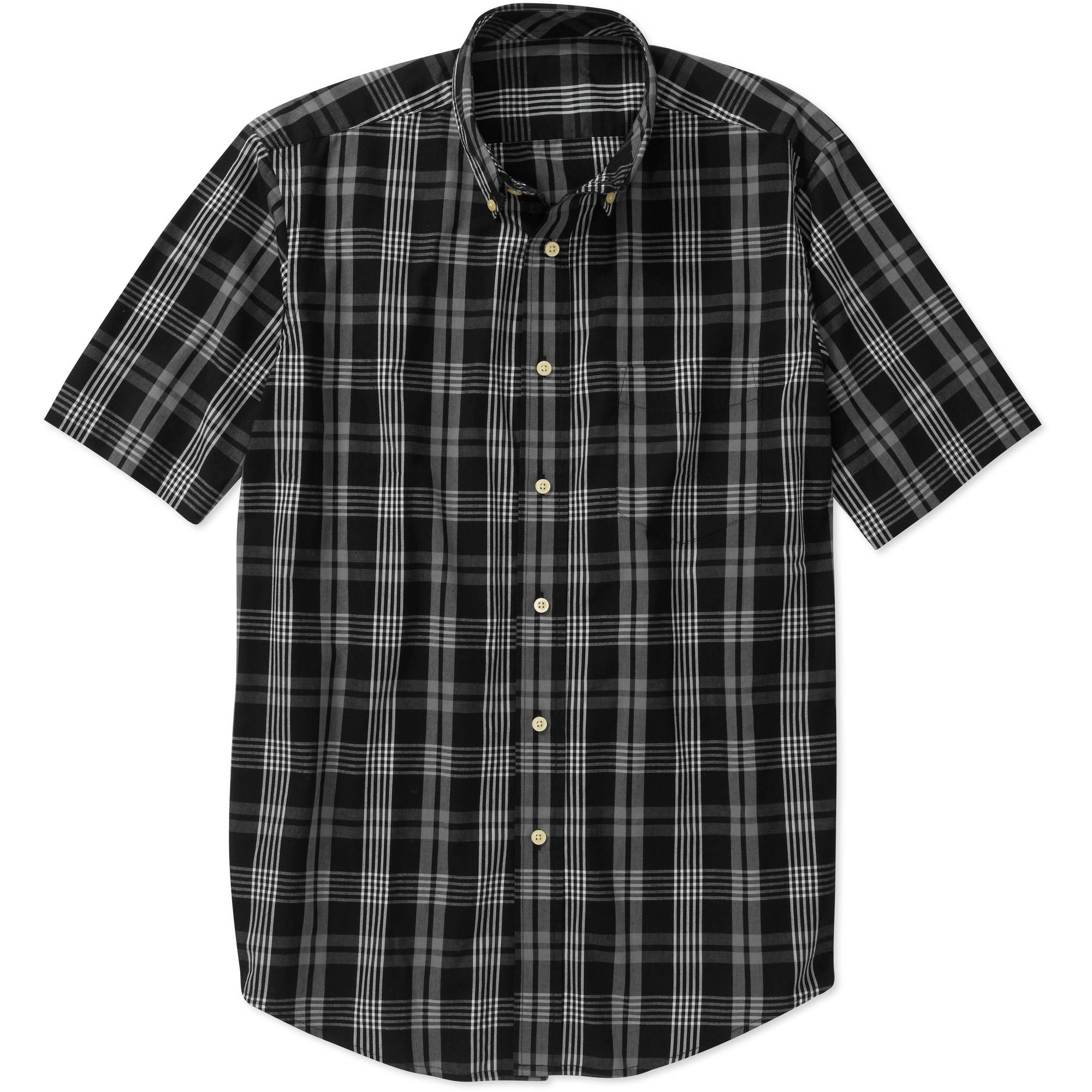 George Big Men's Short Sleeve Plaid Woven