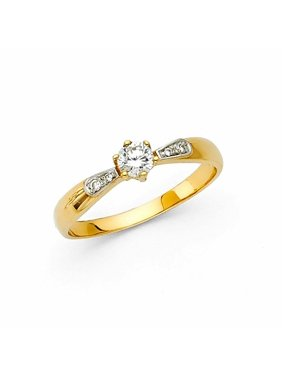 Solid 14k Yellow Gold 6 Prong CZ Cubic Zirconia Round Cut Wedding Engagement Ring (0.25 ct.)