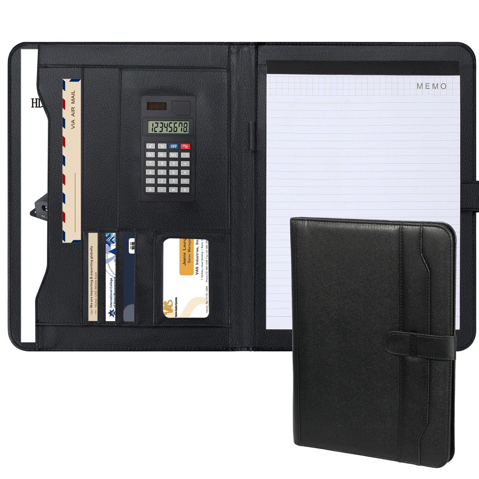 Leather Padfolio Resume Portfolio Folder w Storage Pockets Card