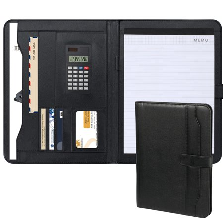leather padfolio resume portfolio folder w storage pockets card slots writing pad calculator document organizer