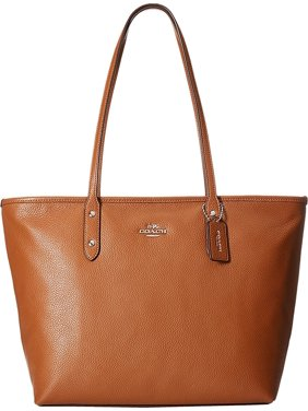 COACH 37155M Women's Pebbled City Zip Tote SV/Saddle Tote