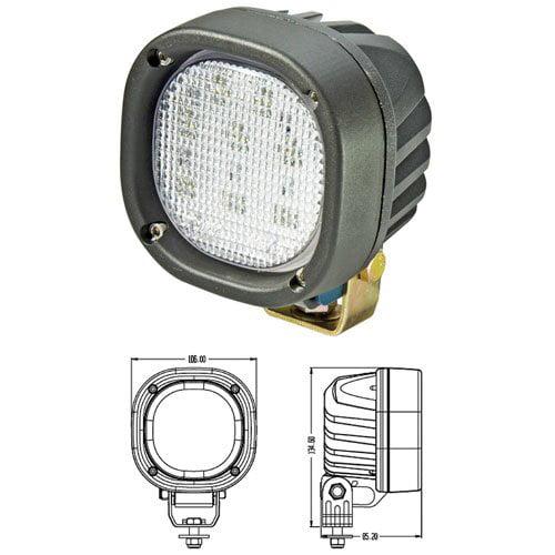 LED Work Light - TYRI, 16.8W, Square, Flood, Gehl Skid Steer, Mustang Skid Steer