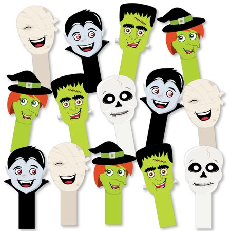 Halloween Monsters - Halloween Party Paddle Photo Booth Props - Selfie Photo Props - Set of 14