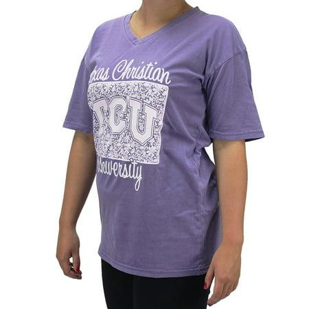 Pressbox Women' s TCU Texas Christian University TX Frogs Lavender Comfort Color T-Shirt - Tcu Apparel