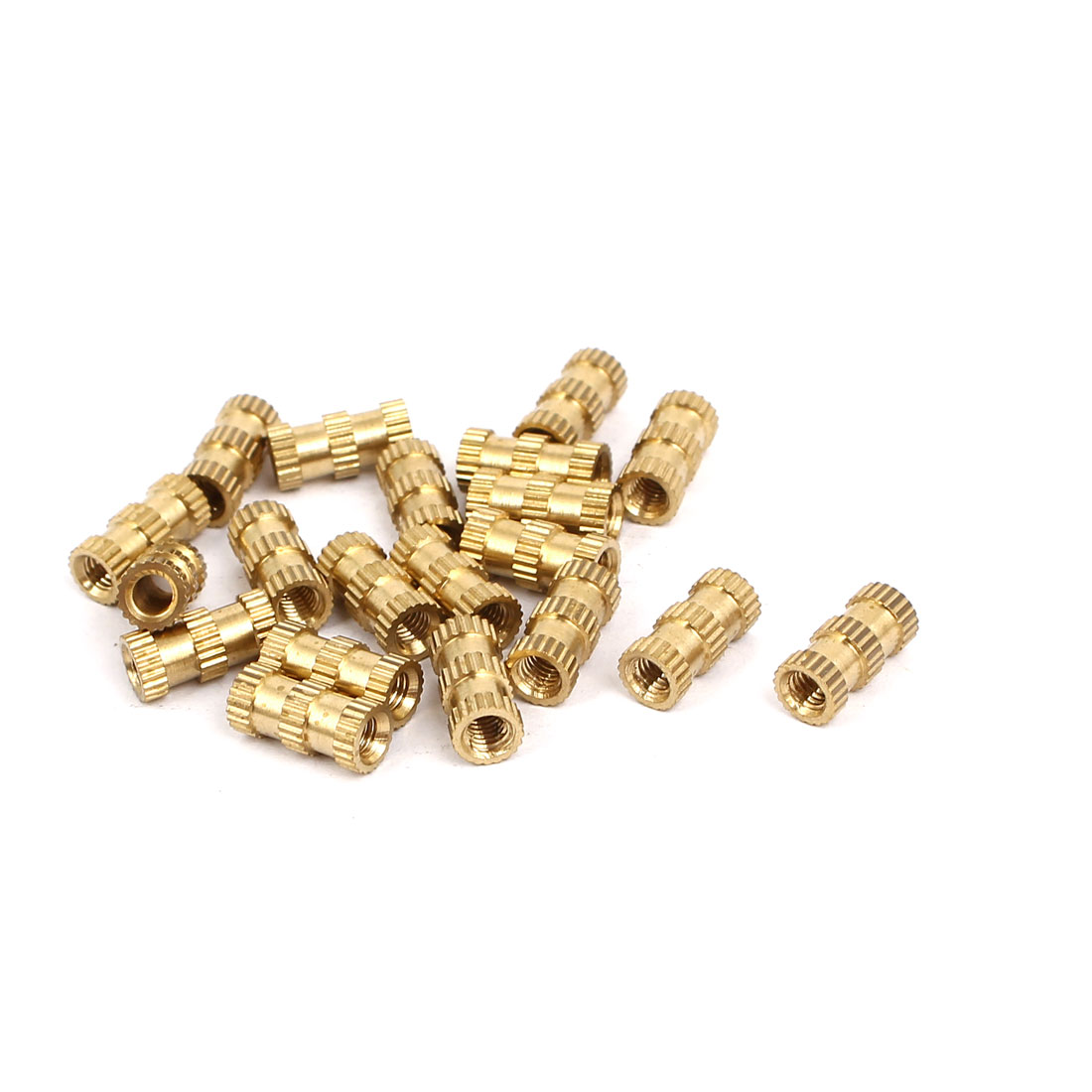 M3x10mmx4.8mm Brass Knurled Threaded Nut Insert Embedded Nuts Gold Tone 20pcs