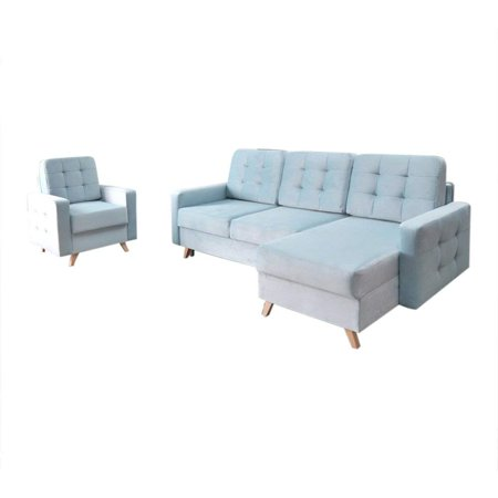 Vegas Futon Sectional Sofa Bed and Arm Chair, Queen Sleeper with Storage,  Blue