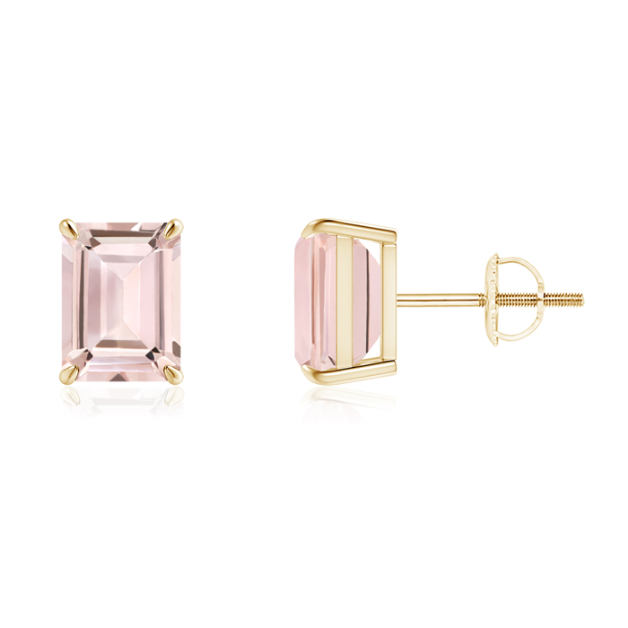 Angara Claw-Set Solitaire Emerald-Cut Morganite Earrings cwPJ6OE