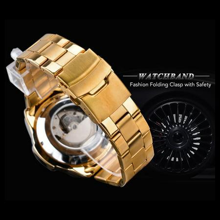 FORSINING Men Three Dials Stainless Steel Band Calendar Analog Watch Waterproof Automatic Mechanical Wrist Watch - image 7 of 7