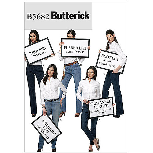 Butterick Pattern Misses' Jeans and Trousers, FF (16, 18, 20, 22)