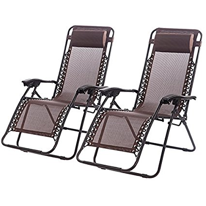 Outdoor Zero Gravity Chairs with Adjustable Pillow, 2 Pack, Brown