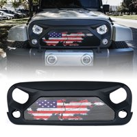 Xprite Gladiator Grille with Distressed U.S. Flag Steel Mesh for 2007-2018 Jeep Wrangler