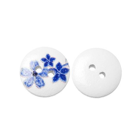 10 Pcs Round Wood Buttons White with Blue Flowers Pattern 15mm