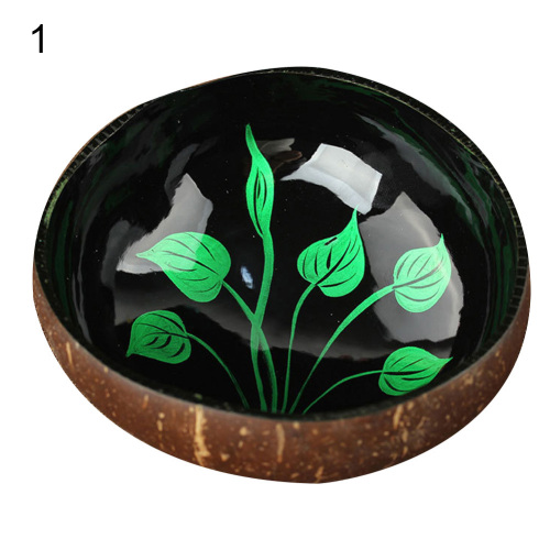 Coconut Shell Color Painting Dried Fruit Food Container Keys Candy Storage Bowl