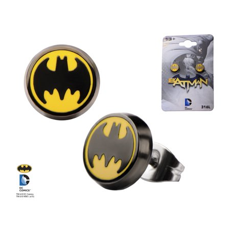 Official Logo Earrings (Batman Round Enamel Bat Signal Logo Black and Yellow Stainless Steel Post Unisex Stud Earrings )