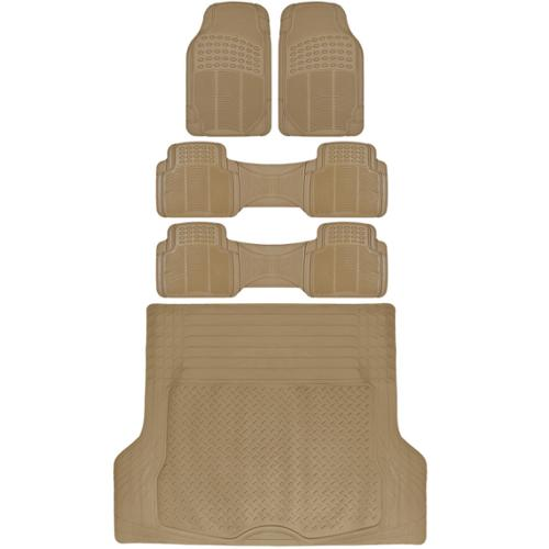 BDK 3 Row Heavy Duty Trimmable Car Floor Mats for SUV  Van with Cargo Liner (5 Pieces) by BDK