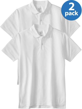 Wonder Nation Boys 4-18 School Uniform Short Sleeve Performance Polo Shirt, 2-Pack Value Bundle