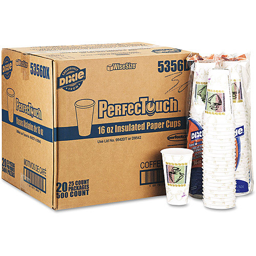 Dixie Coffee Dreams Design PerfecTouch 16 Ounce Paper Hot Cups, 500ct