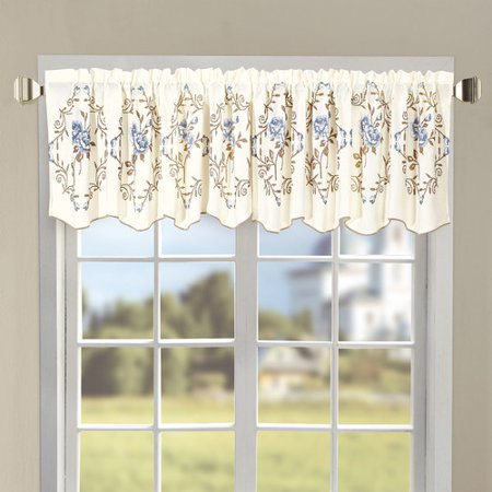 Serenta Roses Embroidered 60'' Curtain Valance Rose Window Valance
