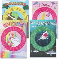 4 Pack 4 Designs Unicorn Shark Dinosaur Mermaid Party Favors Game Kids Spinning Wheel Activity Board Supplies Decorations