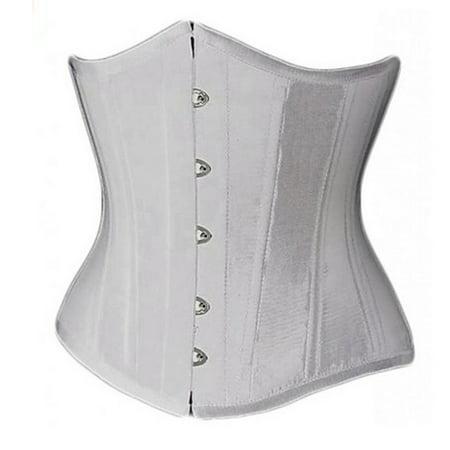 Muka Women's Boned Plus Size Overbust / Underbust Corset Bustier Waist Cincher-white