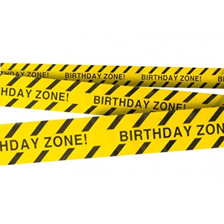 Birthday Zone Party Tape • 3 In. wide X 100 Ft. Long • High Visibility • Tear Resistant Design • Great for Construction-Themed Parties (Great Party Ideas For Adults)